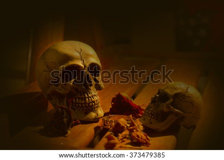 Skull and light candle with dry roses and gold ring - Still life style