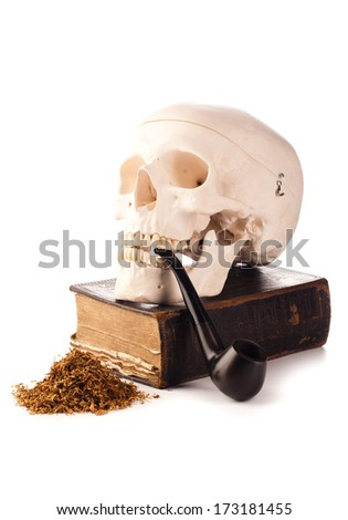 skull and pipe tobacco and old book - stock photo