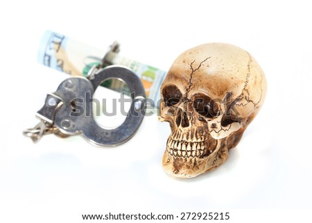 Skull and shackle lock banknote - stock photo