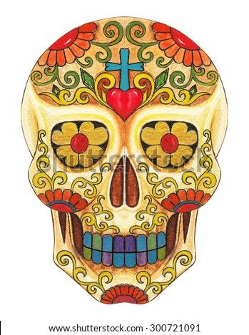 Skull art day of the dead. Hand color painting on paper. - stock photo