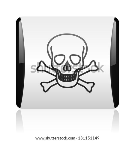 skull black and white square web glossy icon