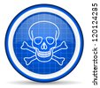 skull blue glossy icon on white background - stock photo