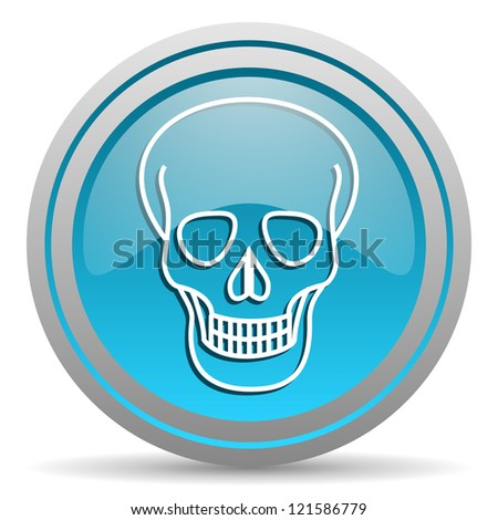 skull blue glossy icon on white background