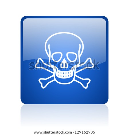 skull blue square glossy web icon on white background