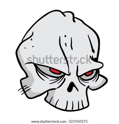 skull cartoon illustration - stock photo