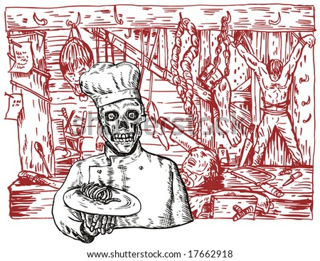 Skull chef serving up a meal in the dungeon - stock photo