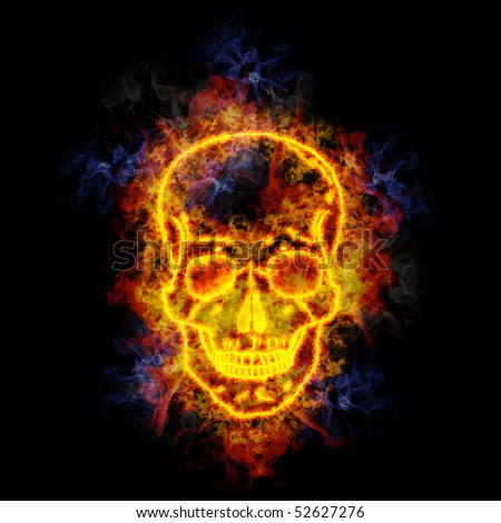 Skull, covered in flames. - stock photo