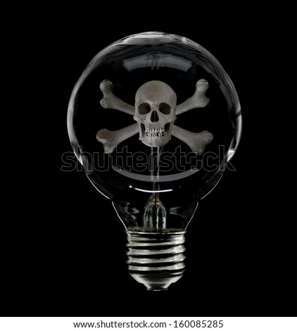 Skull & Crossbones inside an old incandescent lightbulb representative of the danger to the environment from using this old inefficient type of lighting - stock photo