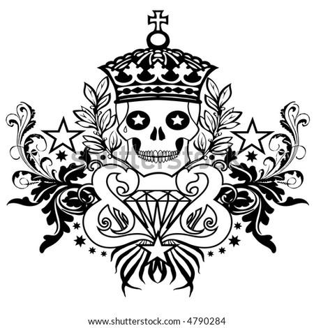 Skull Crown Banner - stock photo