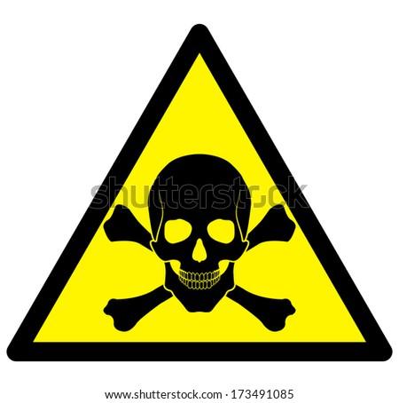skull danger sign - stock photo