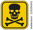 skull danger sign (deadly danger sign, warning sign, jolly roger sign, danger zone) - stock vector
