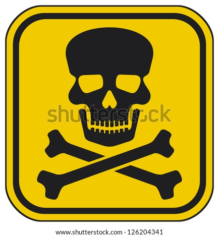 skull danger sign (deadly danger sign, warning sign, jolly roger sign, danger zone) - stock photo