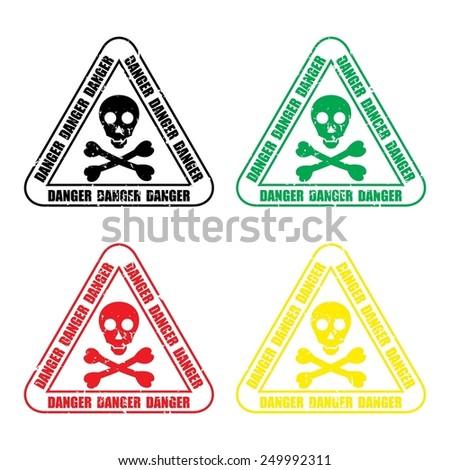 Skull danger sign or Danger traffic sign. - stock photo