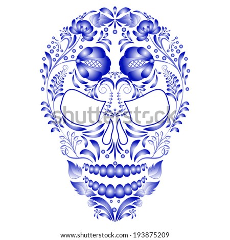 Skull decorated with blue pattern in Gzhel style on a white background. Design cards on the day of the dead. - stock photo