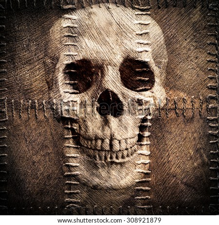 skull depicted on sacking - stock photo
