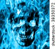 Skull emerge from blue fire or blue smoke - stock