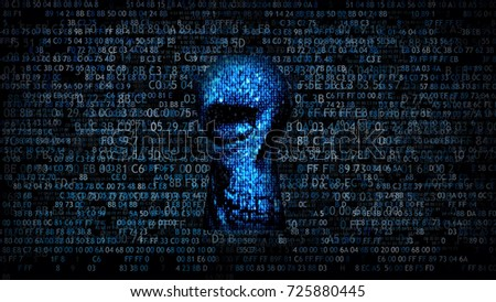 Skull. Hacking data. Hacking and stealing information