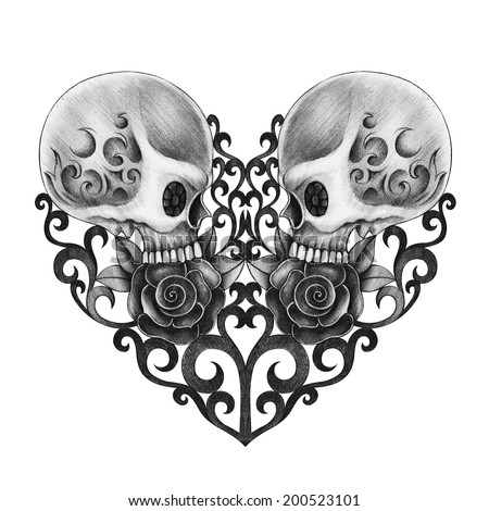 Skull heart day of the dead. Hand drawing on paper.  - stock photo