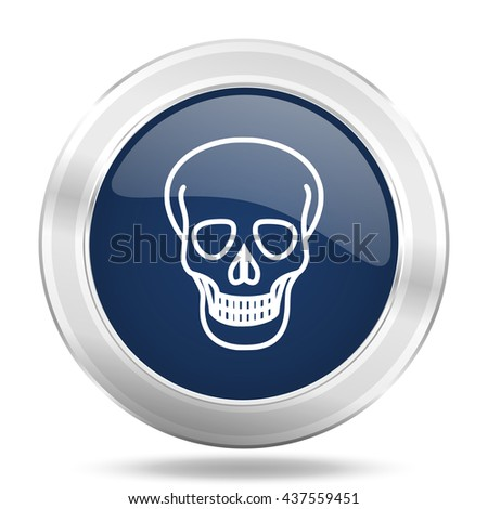 skull icon, dark blue round metallic internet button, web and mobile app illustration