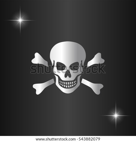 Skull Icon Illustration. Silver flat icon on black background with star
