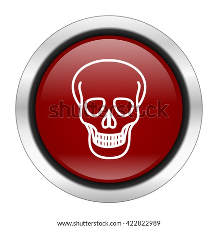 skull icon, red round button isolated on white background, web design illustration