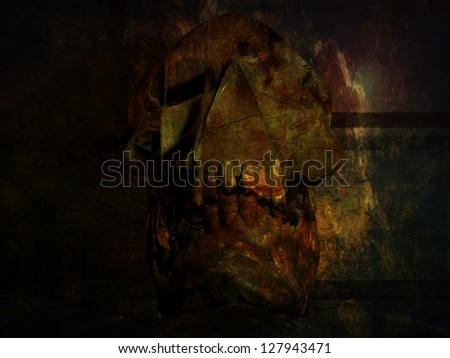 Skull in a crypt - stock photo