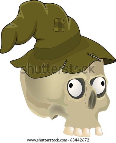 Skull in a hat. Raster version - stock photo
