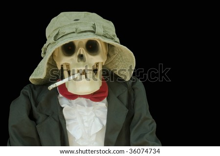 skull in hat and tie smoking a cigarette