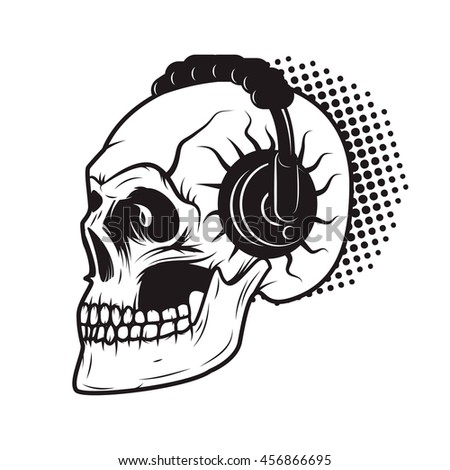 Skull in headphones. It's party time! Design element - stock photo
