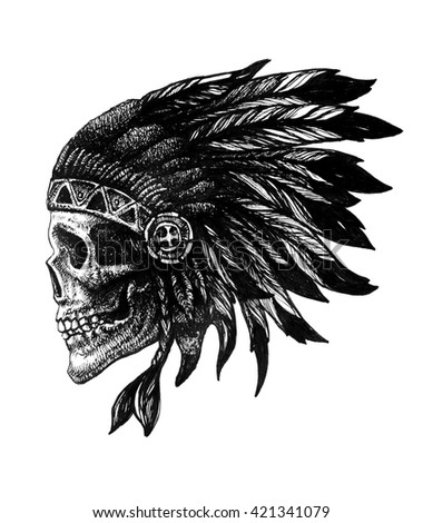 skull indian chief hand drawn jpeg version - stock photo