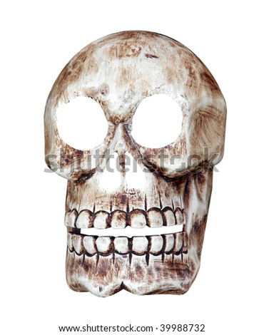 Skull isolated with clipping path - stock photo