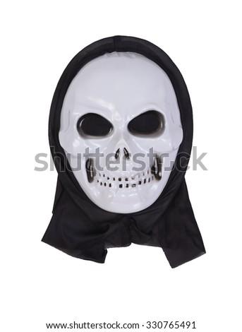 skull mask for halloween on white background