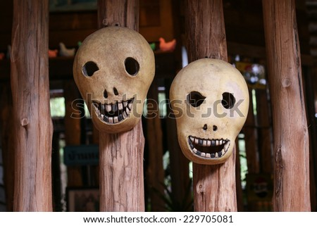 skull mask haloween - stock photo