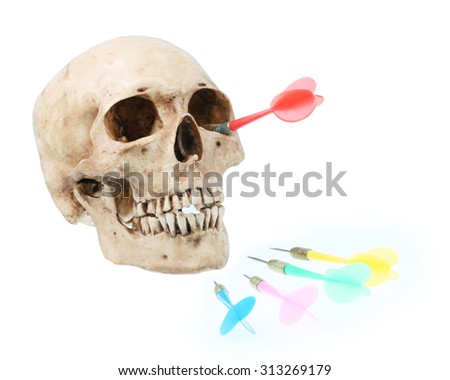 Skull model with Red dart.Darts embroidered into the socket. - stock photo