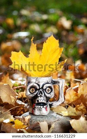 Skull mug with yellow maple leaf at autumn background on Halloween - stock photo