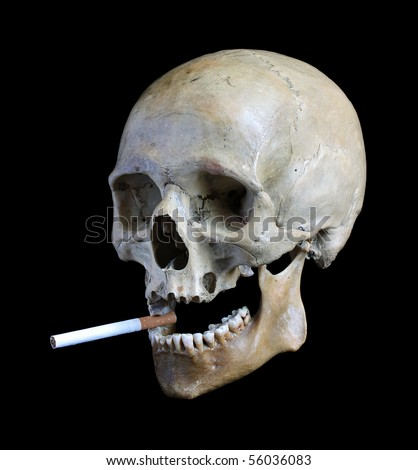 Skull of the person with a cigarette in a teeth. - stock photo