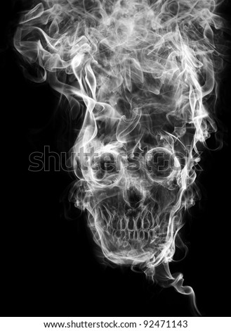 "skull of the smoke. Of smoke formed skull dead, as a symbol of the dangers of smoking to health and imminent death of people. The concept ""smoking kills"". Isolated on a black background - stock photo"