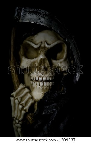 Skull on a black background and shallow DOF