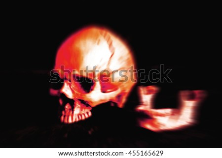 Skull on a black background to blur. - stock photo
