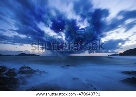 Skull on a sea, sad and bad weather background ,concept halloween background
