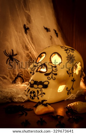 Skull on a wooden table covered in spider webs and spiders with a candle lighting the inside of the skull and giving enough light to see the walnuts and spiders on the table
