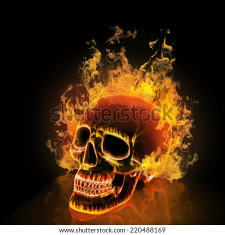 Skull on black background. High resolution 3d render. - stock photo
