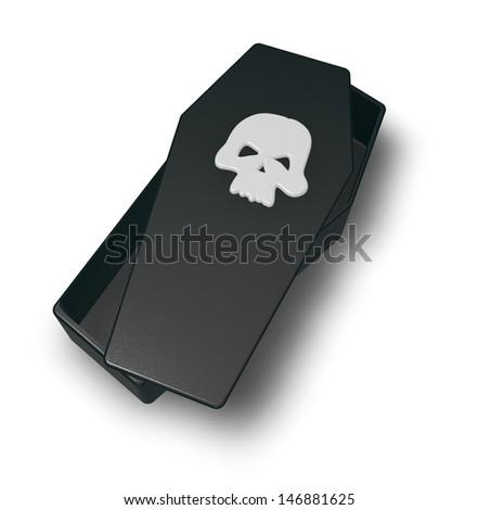 skull on black casket - 3d illustration - stock photo
