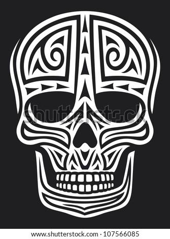 skull ornament (skull in tattoo style, tattoo skull, tribal skull) - stock photo