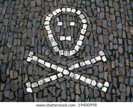 skull pavement - stock photo