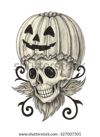 Skull pumpkin tattoo Halloween day. Hand pencil drawing on paper. - stock photo