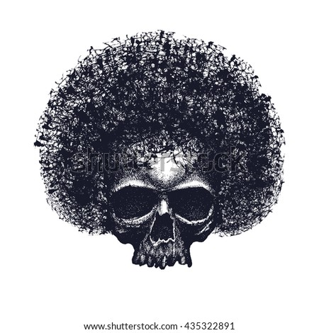 Skull reggae graphic design. - stock photo