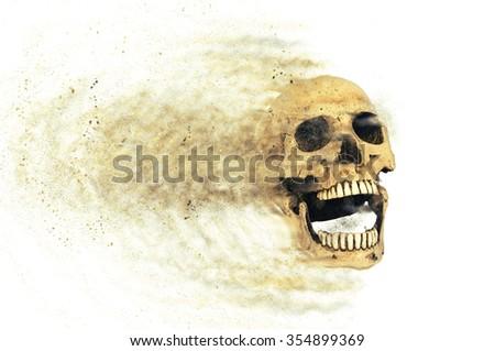 skull sand storm effect - stock photo