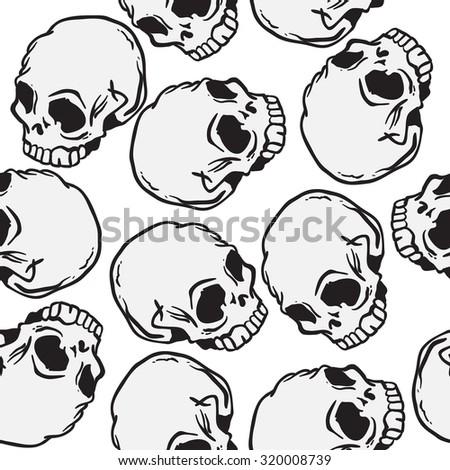 skull seamless pattern - stock photo