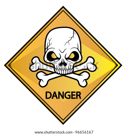 Skull sign danger - Vector Version Is Also Available - stock photo